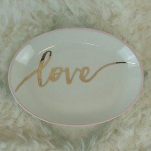 Kate Aspen Love Trinket Dish Blush & Gold Accent